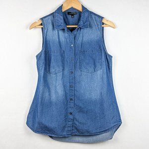 The Limited Chambray Sleeveless Button Down S